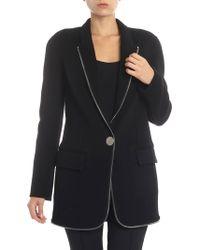 Alexander Wang - Black Coat With Applied Zip - Lyst