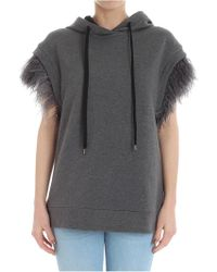 N°21 - Gray Sweatshirt With Feathers - Lyst
