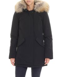 Woolrich - Black Down Jacket With Beige Murmasky Fur - Lyst
