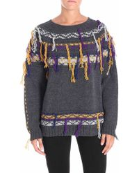 Pinko - Grey Acalypha Pullover With Multicolor Embroidery - Lyst