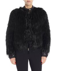 Patrizia Pepe - Black Faux-fur Jacket - Lyst