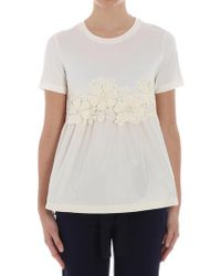 Moncler - White T-shirt With Lace Insert - Lyst