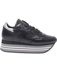"""Philippe Model - """"eiffel"""" Black And Silver Trainers - Lyst"""