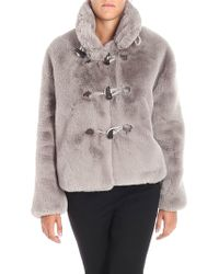 Golden Goose Deluxe Brand - Grey Shedir Eco-fur Jacket With Maxi Frog Buttons - Lyst