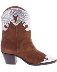 Paris Texas - Brown Pointed Ankle Boots With Silver Details - Lyst