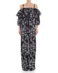 Blumarine - Black Floral Jumpsuit - Lyst