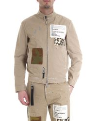 DSquared² - Beige Jacket With Patches And Spots Of Colour - Lyst