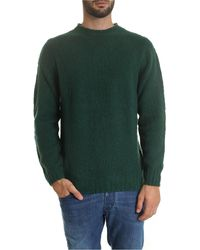 Fedeli - Pullover With Ribbed Edges In Glass Green - Lyst