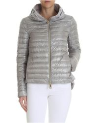 Herno - Grey Down Jacket With Pleats On The Neckline - Lyst