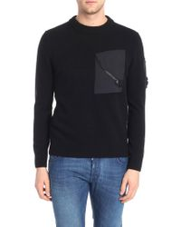 C P Company - Black Pullover With Technical Fabric Pockets - Lyst
