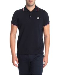 Moncler - Polo blu in cotone - Lyst