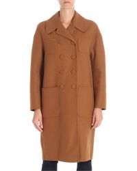 N°21 - Camel Color Double-breasted Coat - Lyst