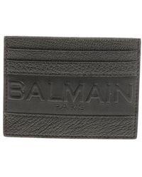 Balmain - Black Card Holder With Logo - Lyst