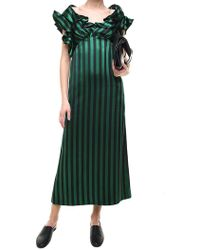 KENZO - Black And Green Striped Long Dress - Lyst
