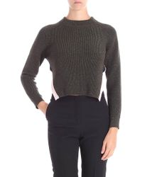 Iceberg - Army Green Sweater With Lamé Insert - Lyst