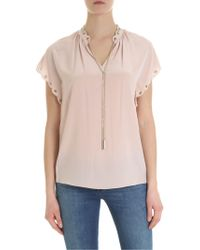 adc76cac78dfd Lyst - Michael Kors Button Sleeve Silk Blouse in White