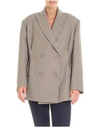Erika Cavallini Semi Couture - Brown And Green Houndstooth Jacket - Lyst
