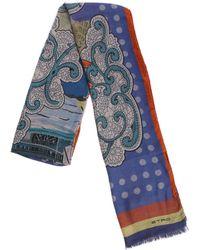 Etro - Sciarpa Nuristan blu con stampe multicolor - Lyst