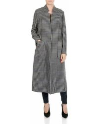 Shirtaporter - White And Blue Houndstooth Coat - Lyst