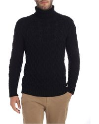 Paolo Pecora - Black Turtleneck With Tricot Effect - Lyst