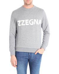 Z Zegna - Grey Melange Sweatshirt With Logo - Lyst