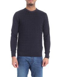 Ballantyne - Dark Blue Pullover With Diamond Pattern - Lyst