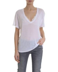 edb0624949 Lyst - Anine Bing Deep V-neck T-shirt in Black