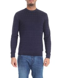 Ballantyne - Blue Diamond Knitted Pullover - Lyst
