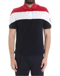 Moncler Gamme Bleu - Red, White And Dark Blue Polo With Logo Embroidery - Lyst