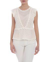 Twin Set - Top in maglia traforata color crema - Lyst