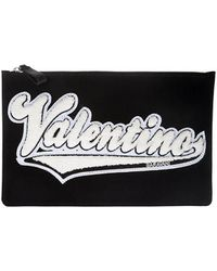 Clutch with white fabric logo Valentino Many Styles qQJL12PE