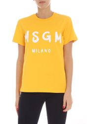 MSGM - Yellow T-shirt With Logo - Lyst