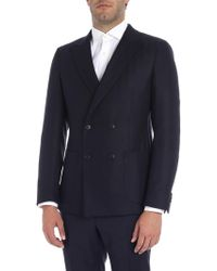 Z Zegna - Black And Blue Double-breasted Jacket - Lyst