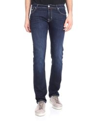Jacob Cohen - Blue Jeans With Beige And Burgundy Logo - Lyst
