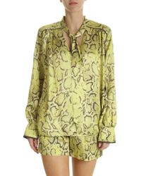 Pinko - Clarissa Reptile Printed Blouse In Green - Lyst