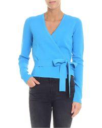 2140e66f7ece0 Diane von Furstenberg - Light Blue V-neck Cache-coeur - Lyst