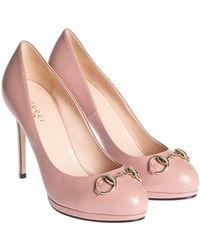 607bdd5a886c Lyst - Gucci Pink Patent Microssima Peep-Toe Pumps in Pink