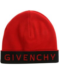 Givenchy - Red Beanie With Blue Logo - Lyst