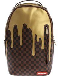 "Sprayground - Brown ""gold Checkered Drips"" Backpack - Lyst"