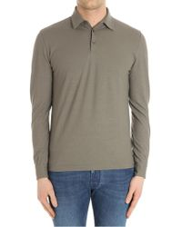 Zanone - Mud-colored Long-sleeved Polo - Lyst