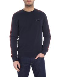 Calvin Klein - Felpa blu con ricamo logo bianco - Lyst