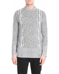 ih nom uh nit - Black And White Knitted Effect Pullover - Lyst