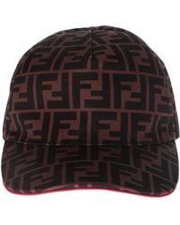 Fendi - Ff Canvas Brown Baseball Cap - Lyst
