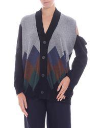 Erika Cavallini Semi Couture - Black And Grey Diamond Pattern Cardigan - Lyst