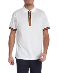 Paul Smith - White Polo With Striped Details - Lyst