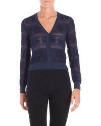 M Missoni - Blue Nude Effect Cardigan With Tone On Tone Embroidery - Lyst
