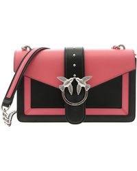 a7bf4953ae Pinko - Love Evolution Bag In Black And Pink Leather - Lyst