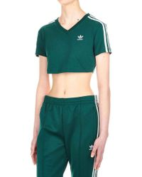 bd7b4b7491344 Lyst - adidas Originals Cropped Long Sleeve Cotton Blend T-shirt in ...