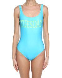Alberta Ferretti - Turquoise Tuesday Lycra Swimsuit - Lyst