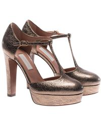 L'Autre Chose - Bronze Crackle Laminated Leather T-strap Shoes - Lyst